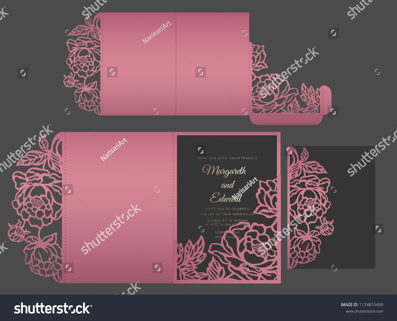 laser cut wedding invitation envelope peonies stock vector royalty