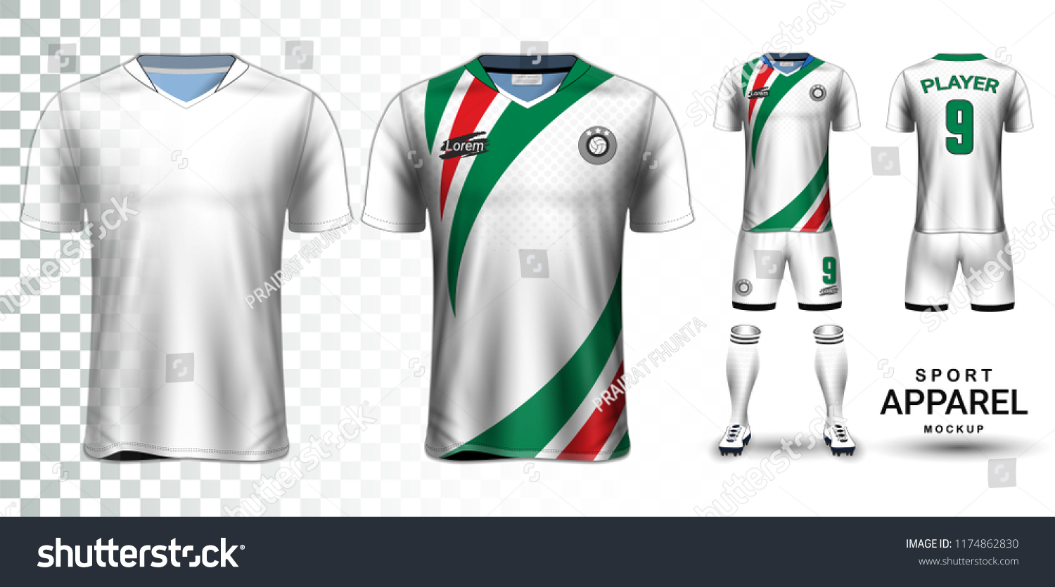 daf6fd00e Soccer Jersey Football Kit Presentation Mockup Stock Vector (Royalty ...
