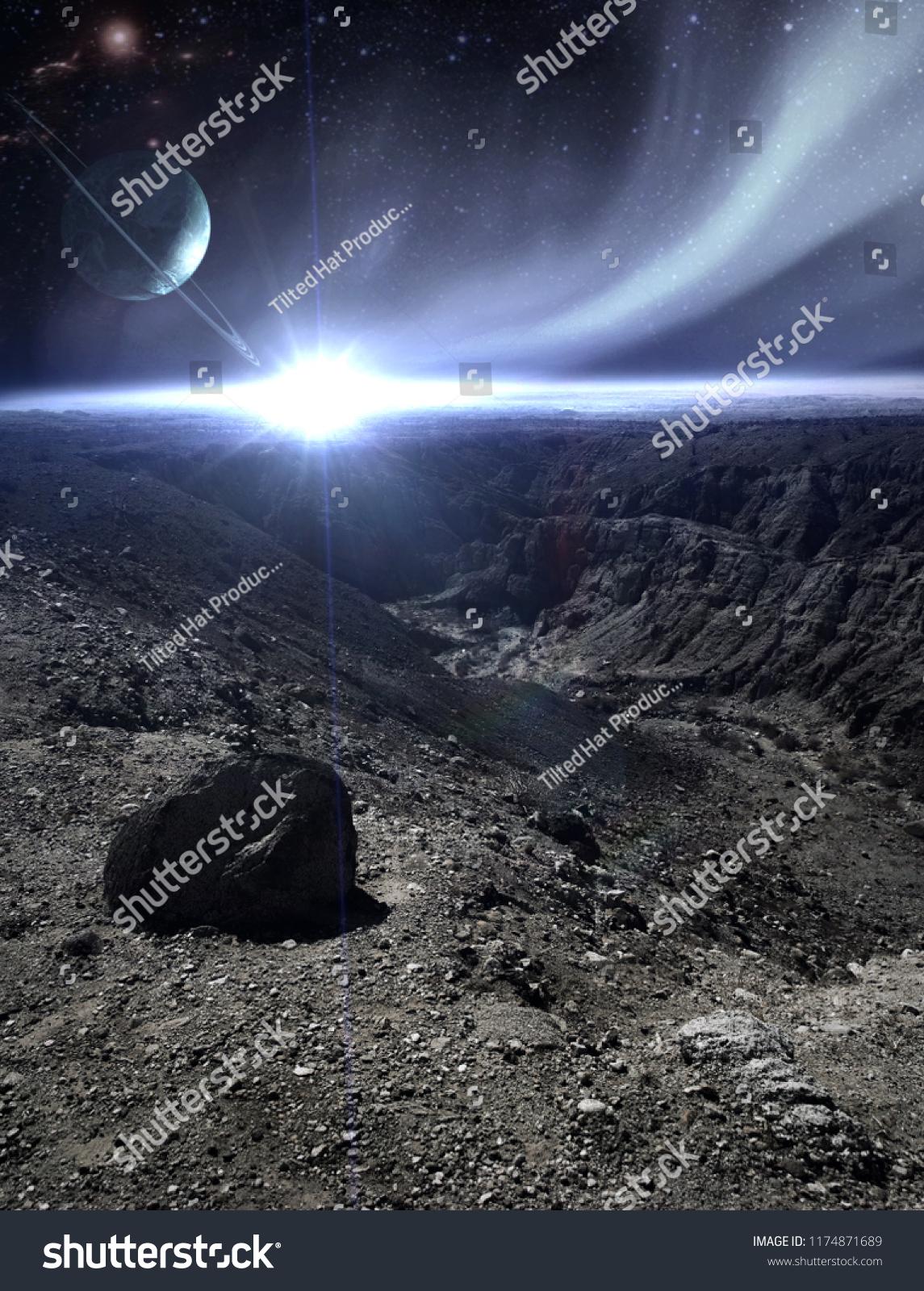 Cold Barren Planet Fantasy Landscape Stock Photo Edit Now 1174871689