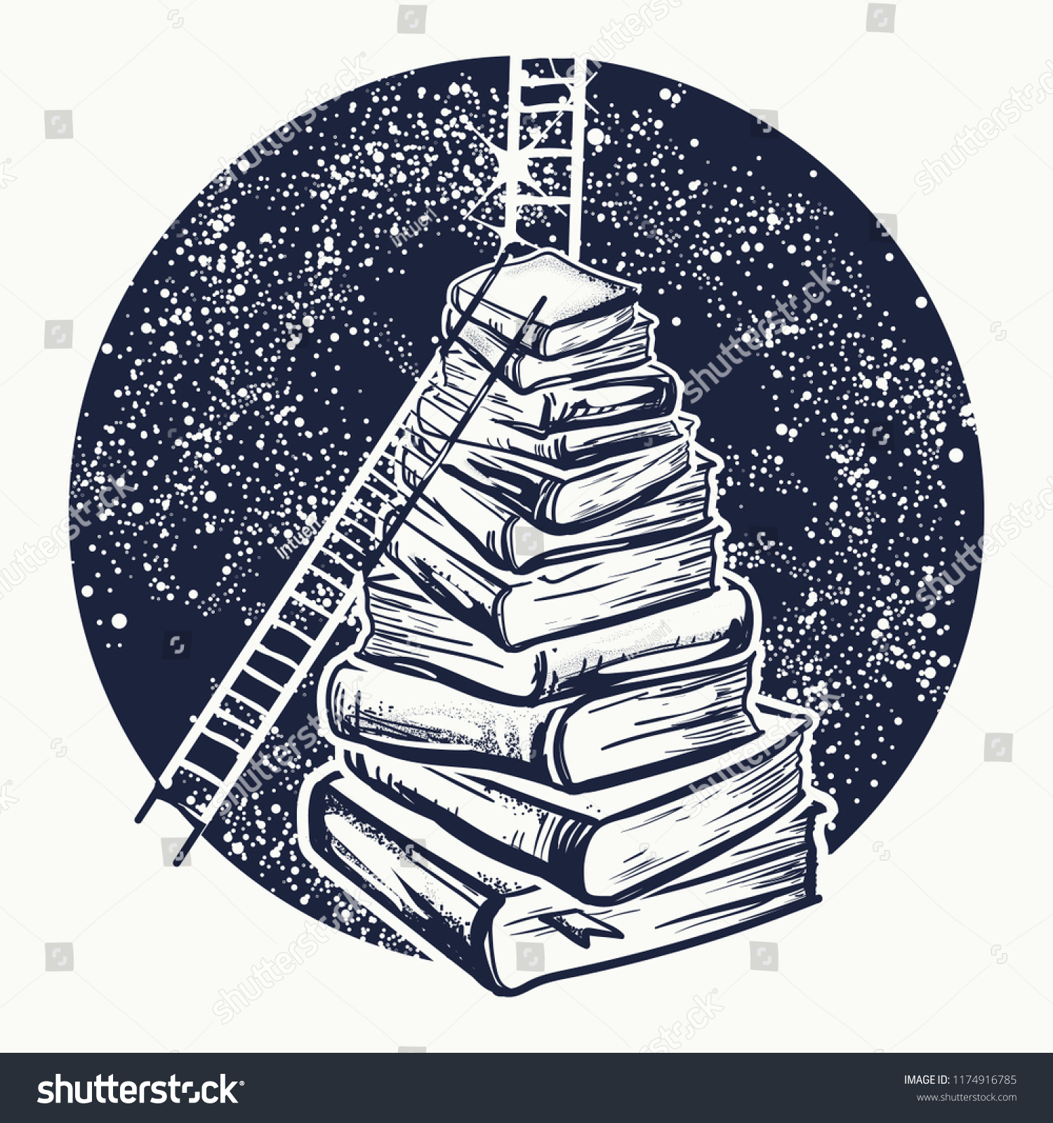 Ladders On Stack Books Tattoo Symbol Stock Vector Royalty Free