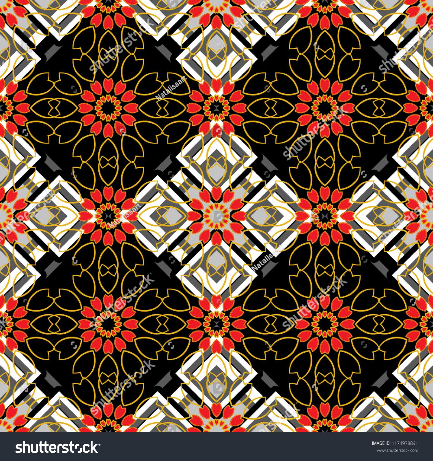 Random geometric shapes seamless pattern in gray orange and black colors print card cloth shirts dress wrapper cover geometrical simple art