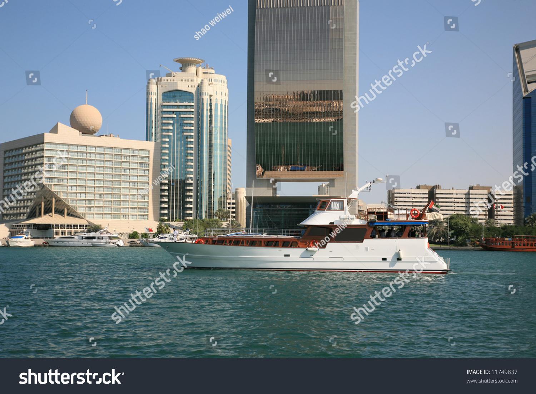 Luxury Cabin Cruiser On The Creek Dubai Stock Photo