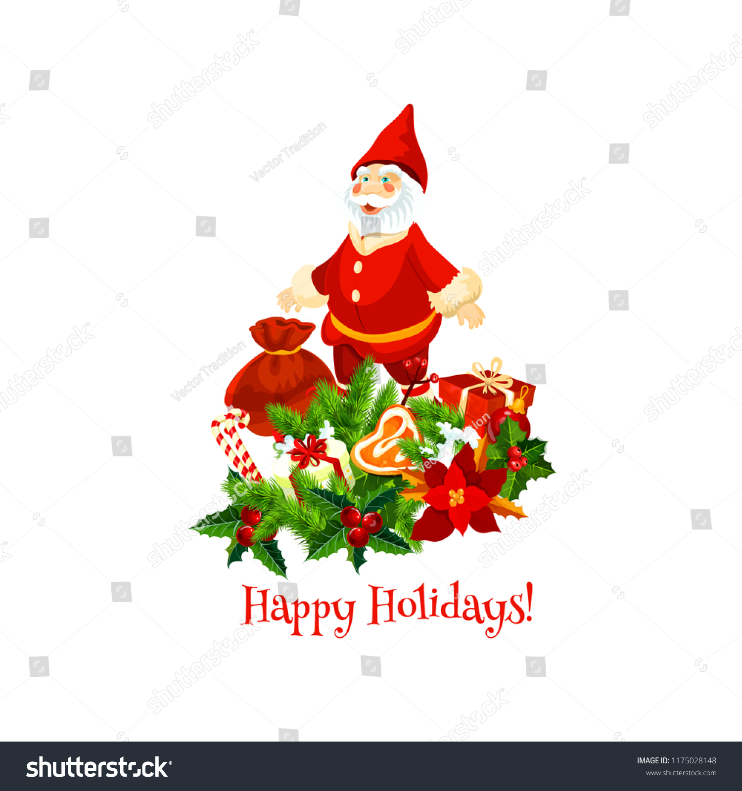 Santa Claus Christmas Gift Winter Holiday Stock Vector (Royalty Free ...