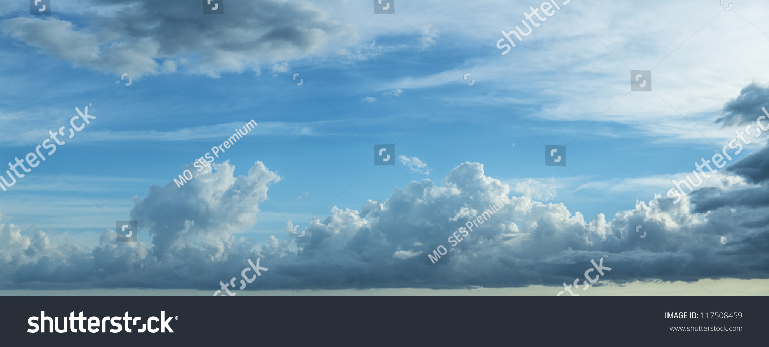 Blue Cloudy Sky. Panoramic Composition In High Resolution ...