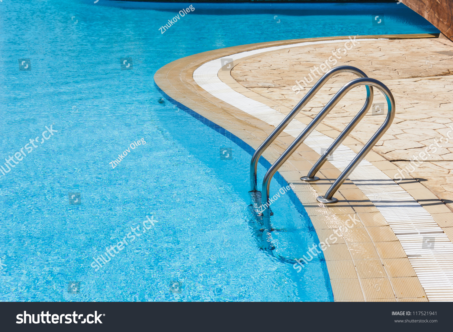 Grab Bars Ladder In The Blue Swimming Pool Stock Photo 117521941 Shutterstock