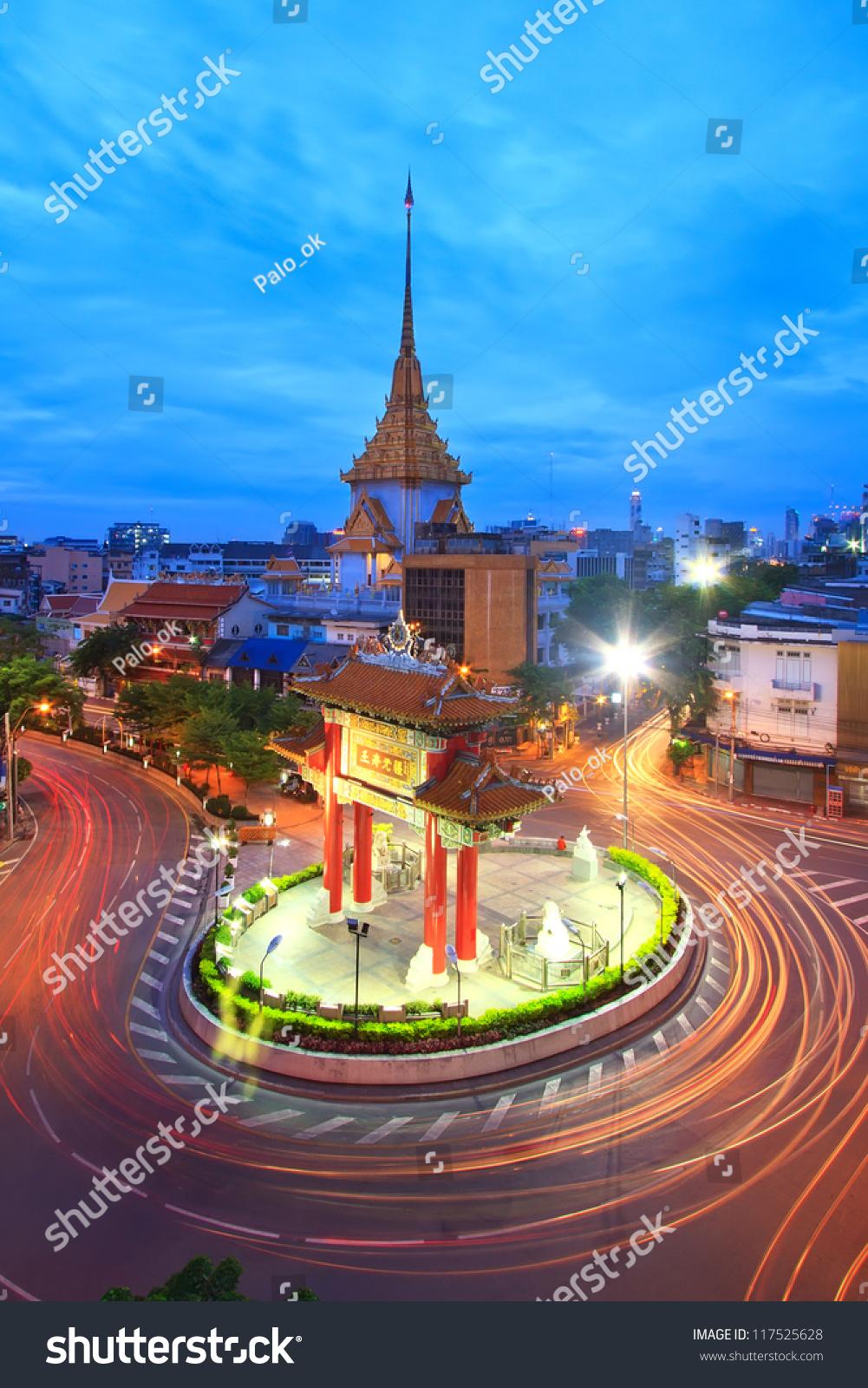 Gateway Arch (Odeon Circle), China Town, Yaowarat, Bangkok ...