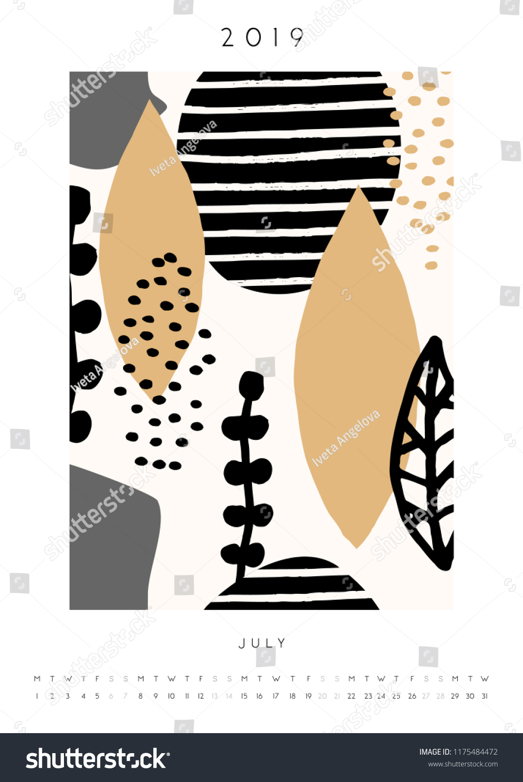 Printable A 4 Size July 2019 Calendar Stock Vector Royalty Free