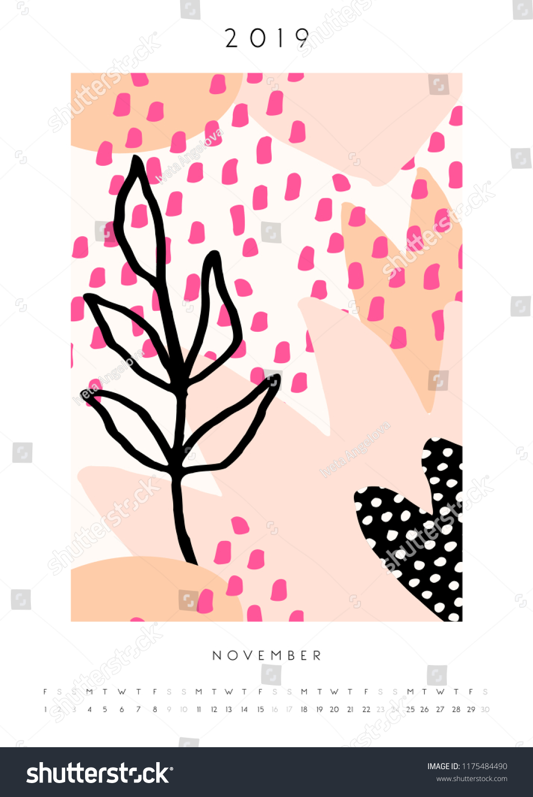 Printable A 4 Size November 2019 Calendar Stock Vector Royalty Free