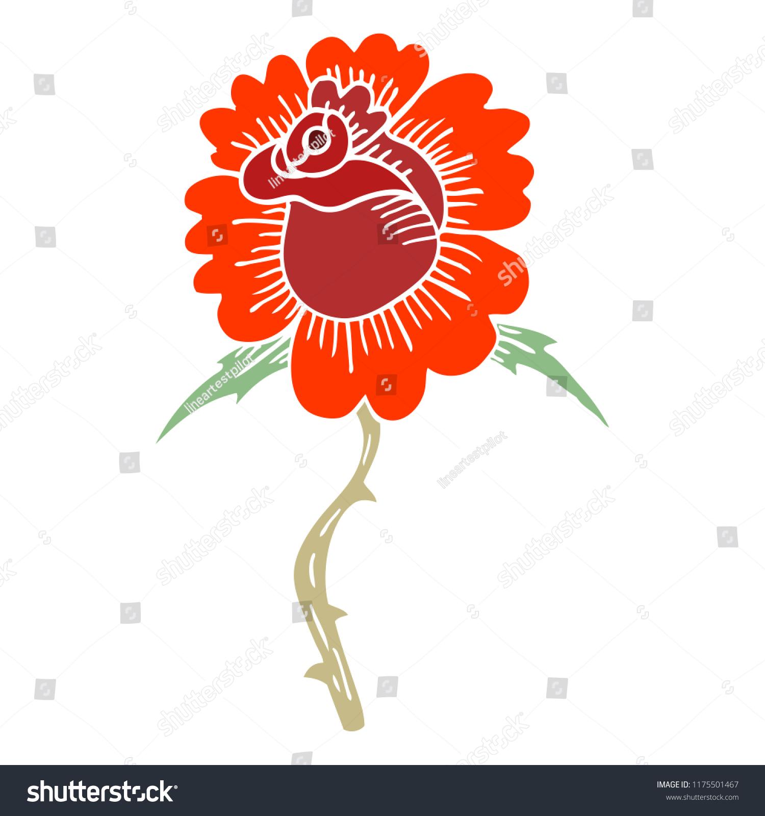 09a0233b9 Cartoon Doodle Rose Tattoo Symbol Stock Vector (Royalty Free) 1175501467