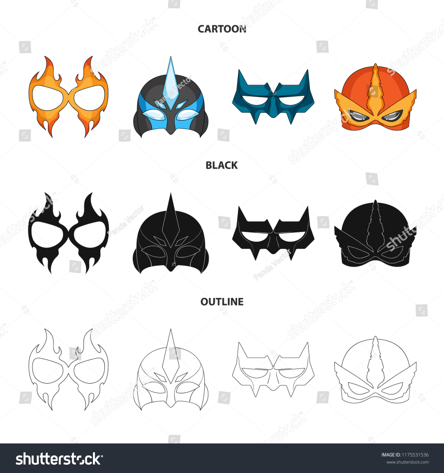 Vector Illustration Hero Mask Icon Collection Stock Vector Royalty
