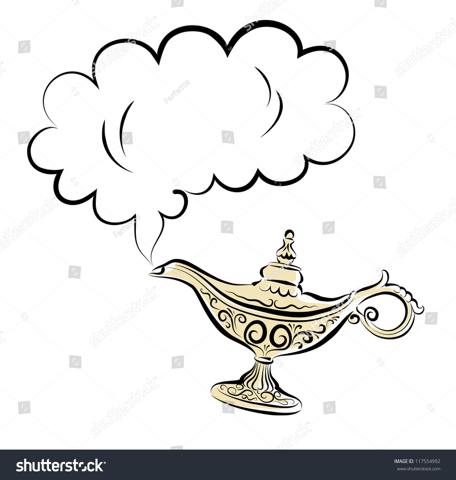 Vector Drawing Alladins Gold Magic Lamp Stock Vector 117554992 ... for Magic Lamp Drawing  192sfw