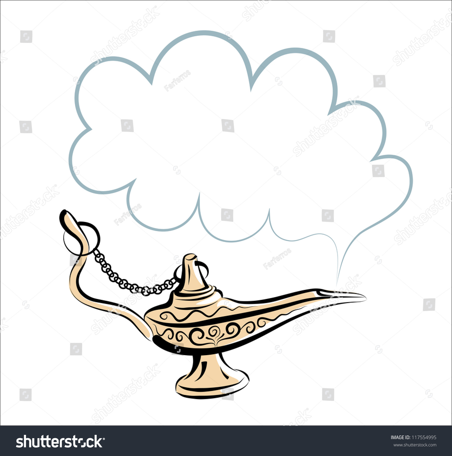 Vector Drawing Alladins Gold Magic Lamp Stock Vector 117554995 ... for Magic Lamp Drawing  165jwn