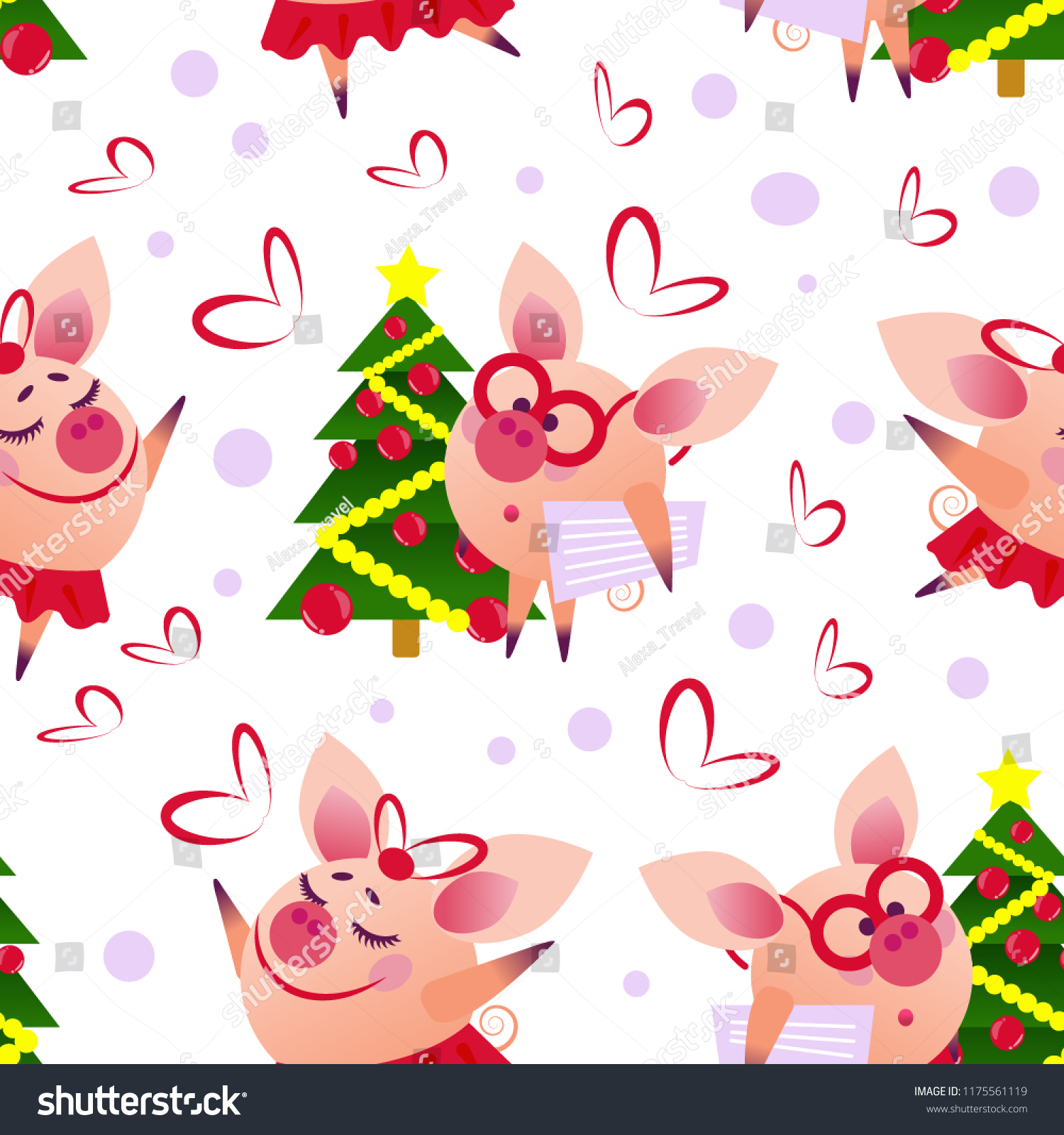 Seamless vector new year pig pattern funny pig with glasses and newspaper staying beside small