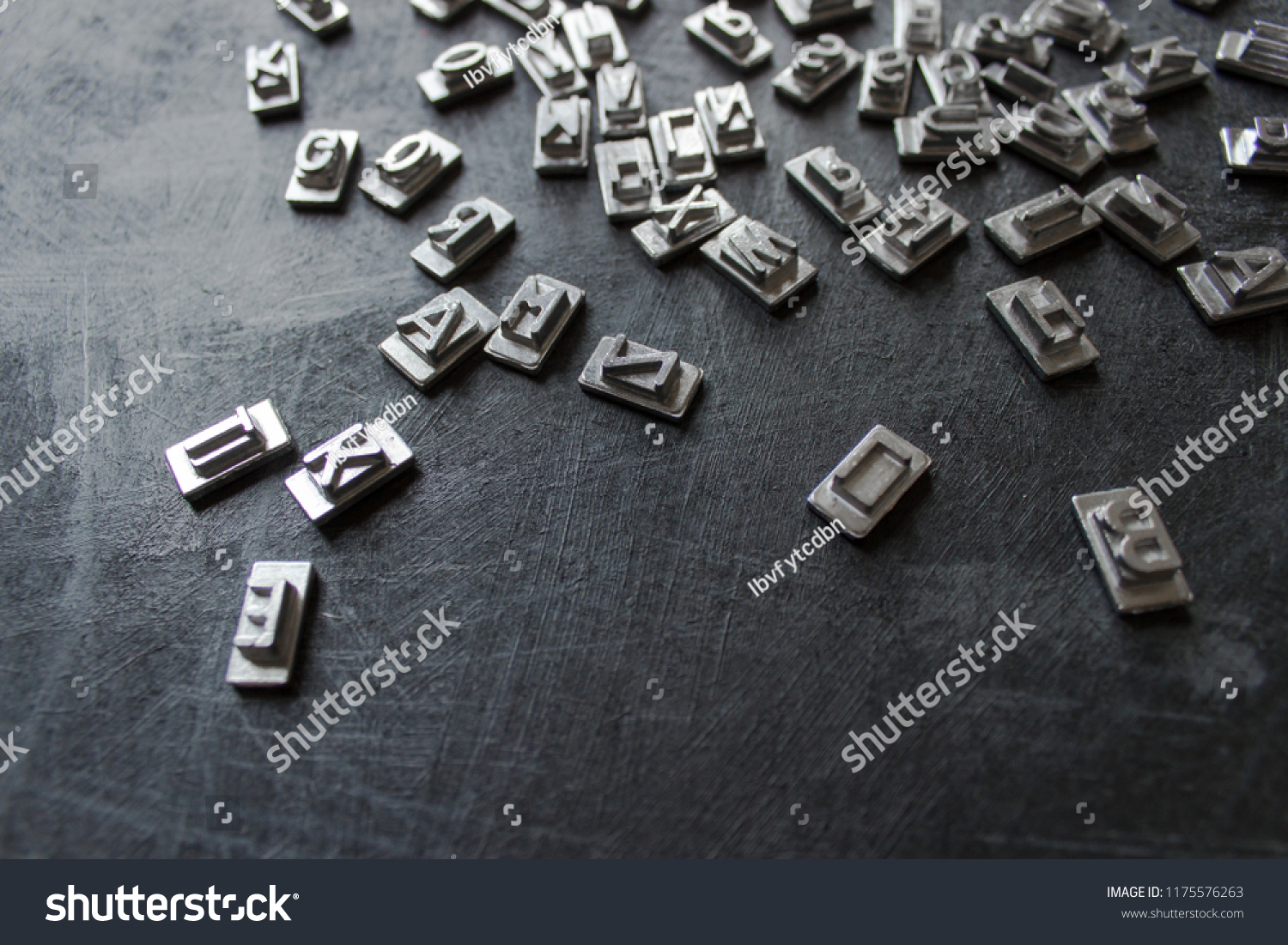 Old Steel Printing Type Font Characters Stock Photo (Edit