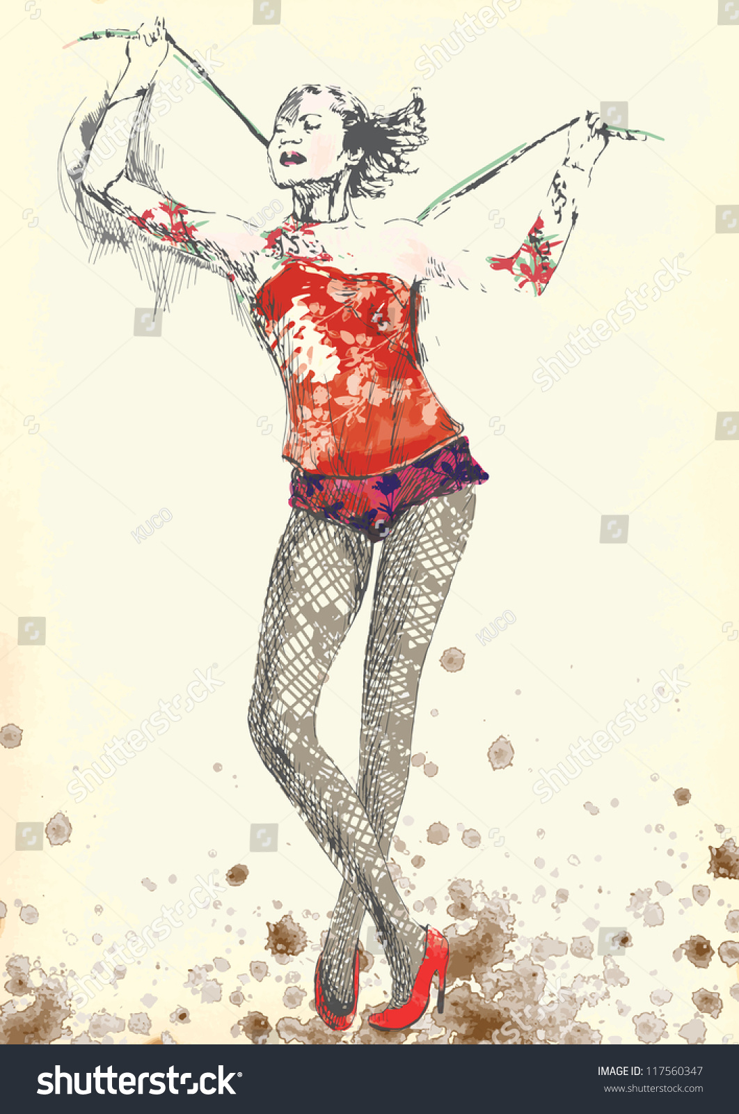 Illustration In Vintage Style Of A Gymnastics And Circus Topic Description Editable In Several