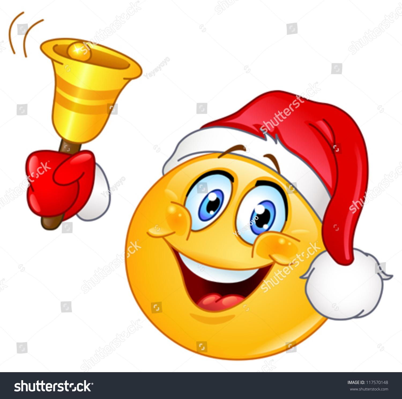 Emoticon santa hat ringing christmas bell stock vector