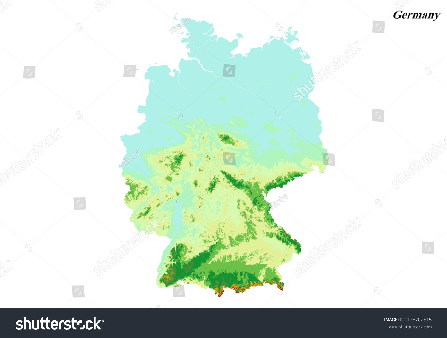 Elevation Map Of Germany.Germany Elevation Map 3 D Rendering Stock Illustration 1175702515