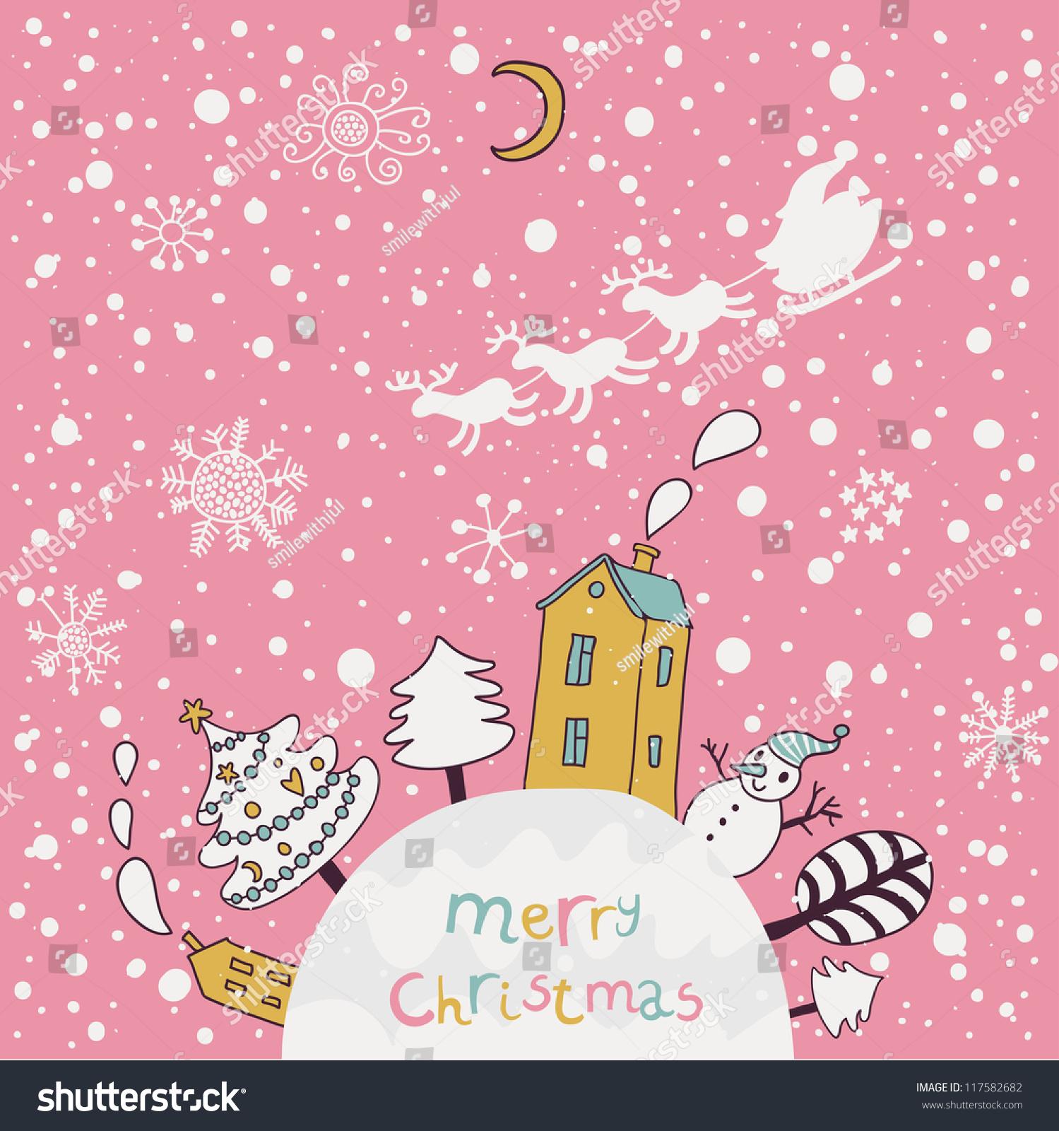 Merry Christmas Cartoon Vector Background Nice Stock Vector (Royalty ...