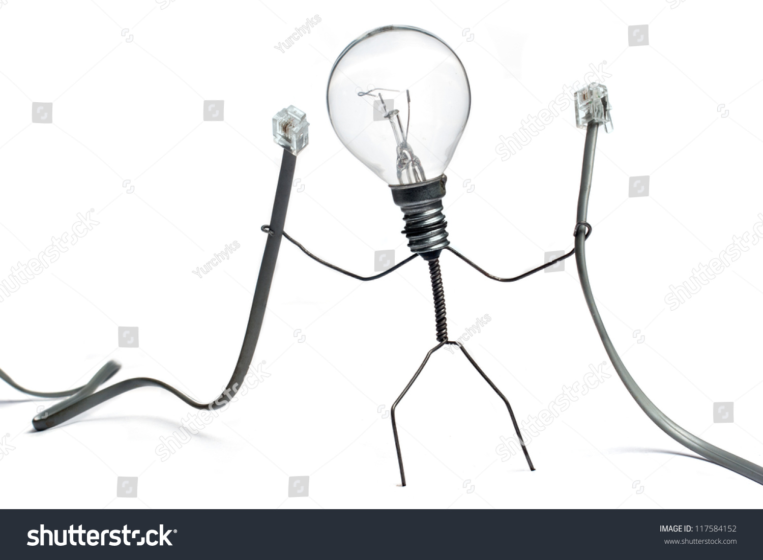 Wire Character Holding Two Cables Illustrating Stock Photo Edit Now