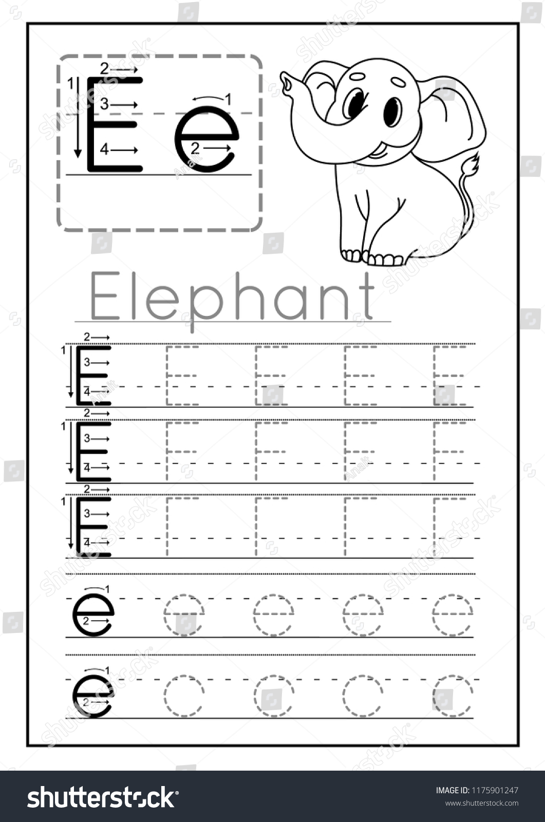 Writing Practice Letter E Printable Worksheet Stock Vector Royalty