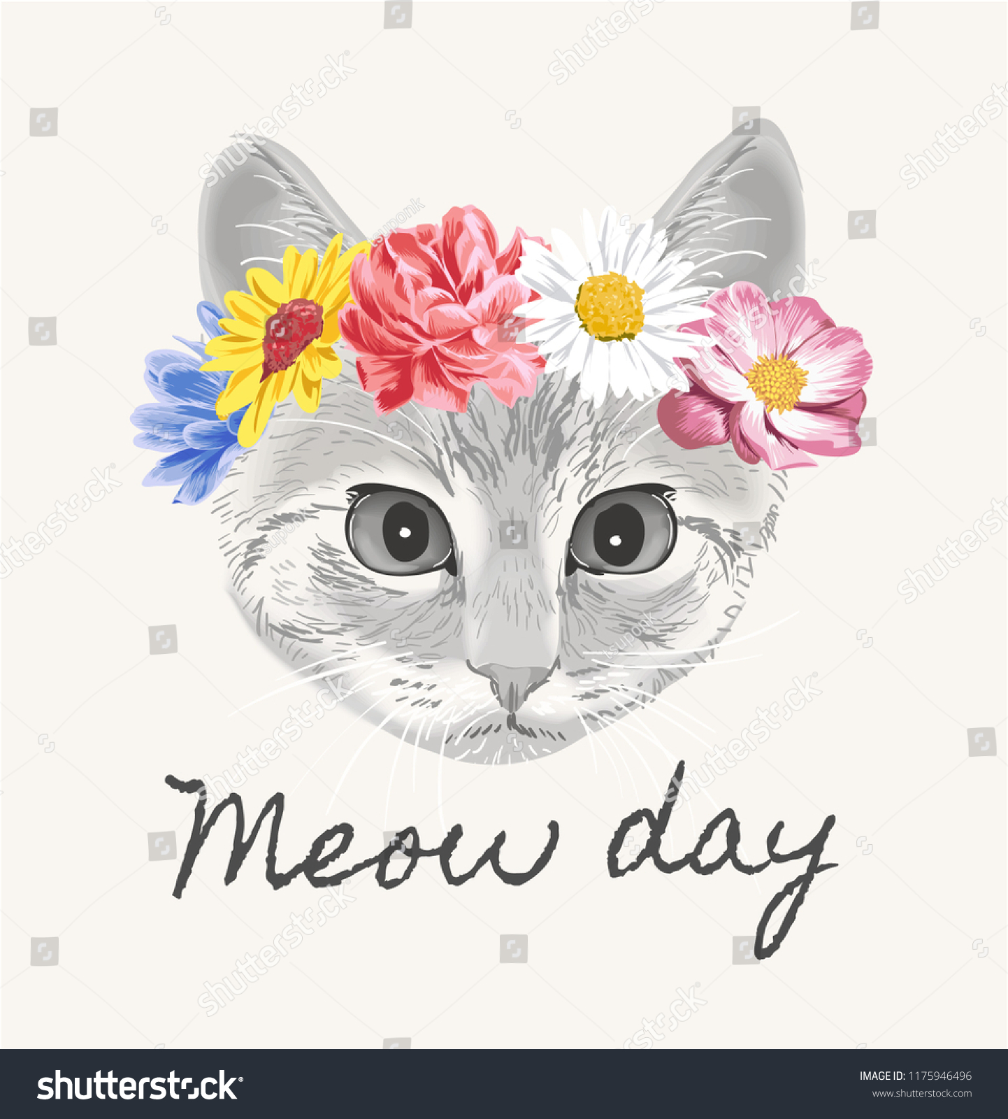 Meow Day Cat Flower Crown Illustration Stock Vector Royalty Free