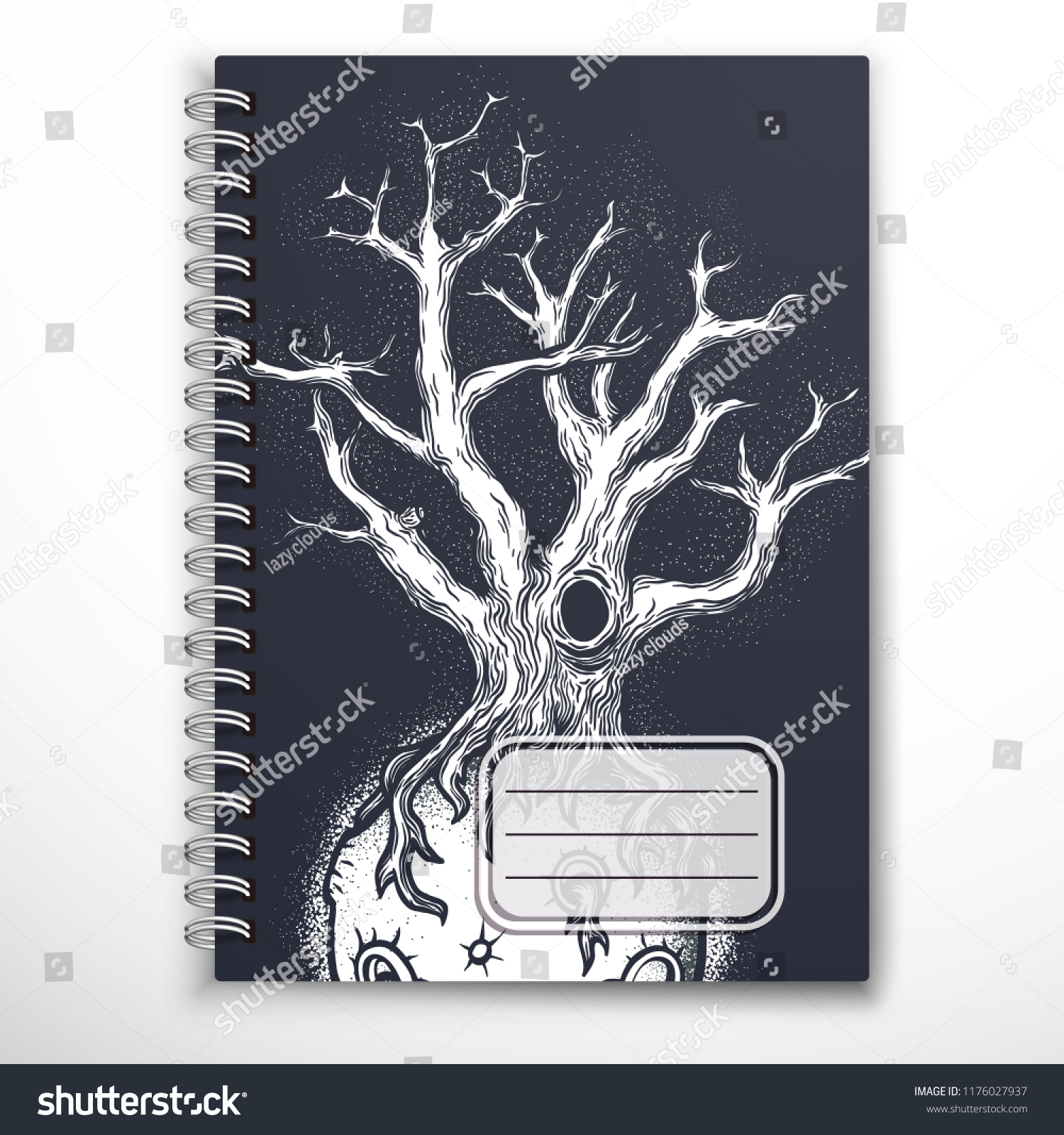 Notebook Cover Template Mysterious Abstract Space Stock Vector