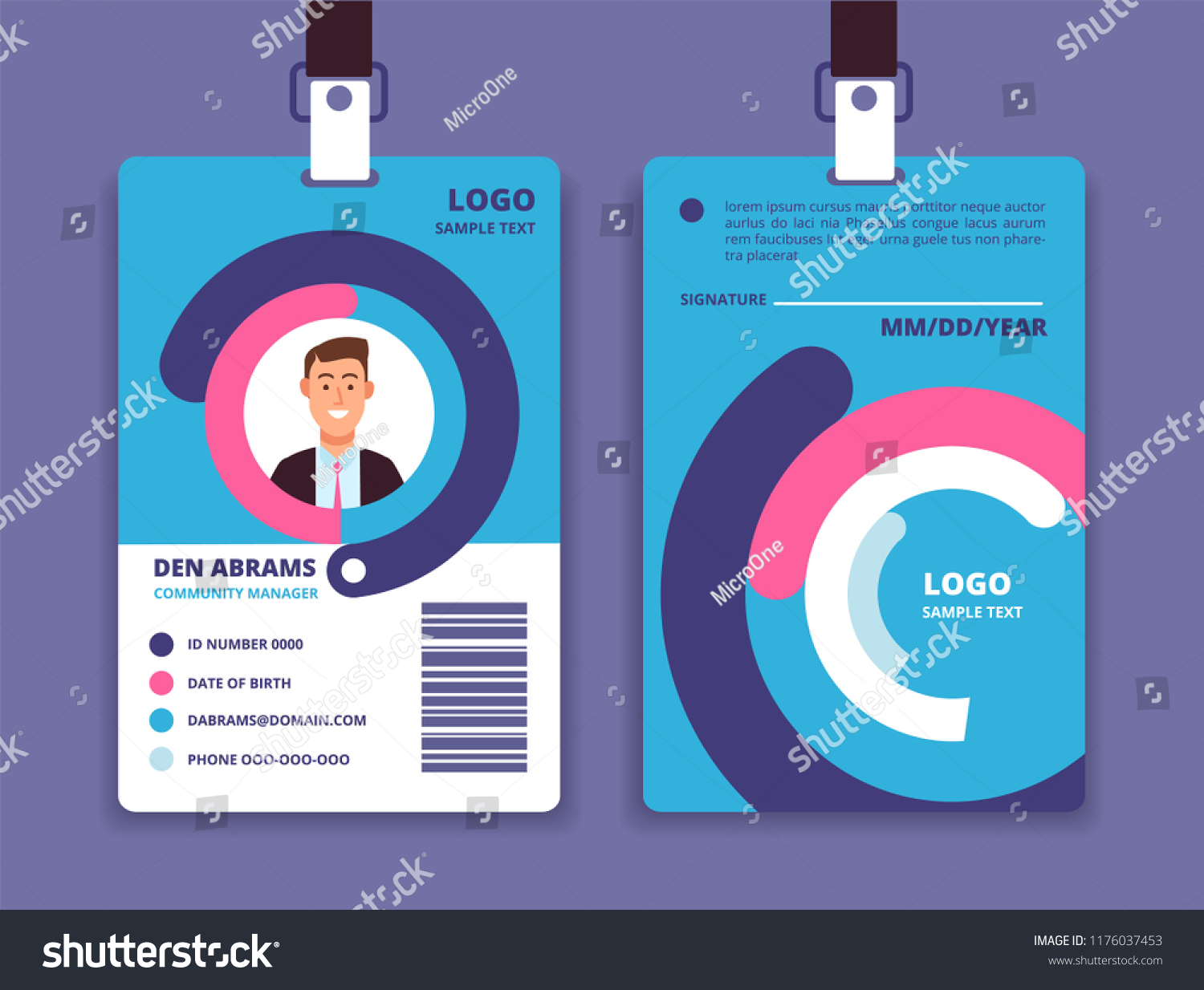 Corporate Id Card Professional Employee Identity Stock Vector Royalty Free 1176037453