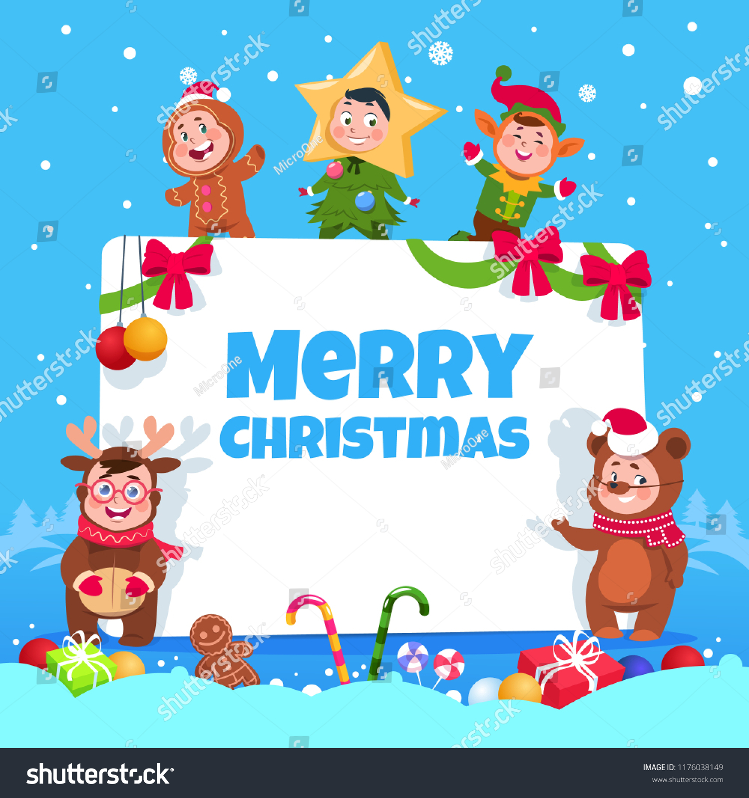 Merry Christmas Greeting Card Kids Christmas Stock Vector Royalty