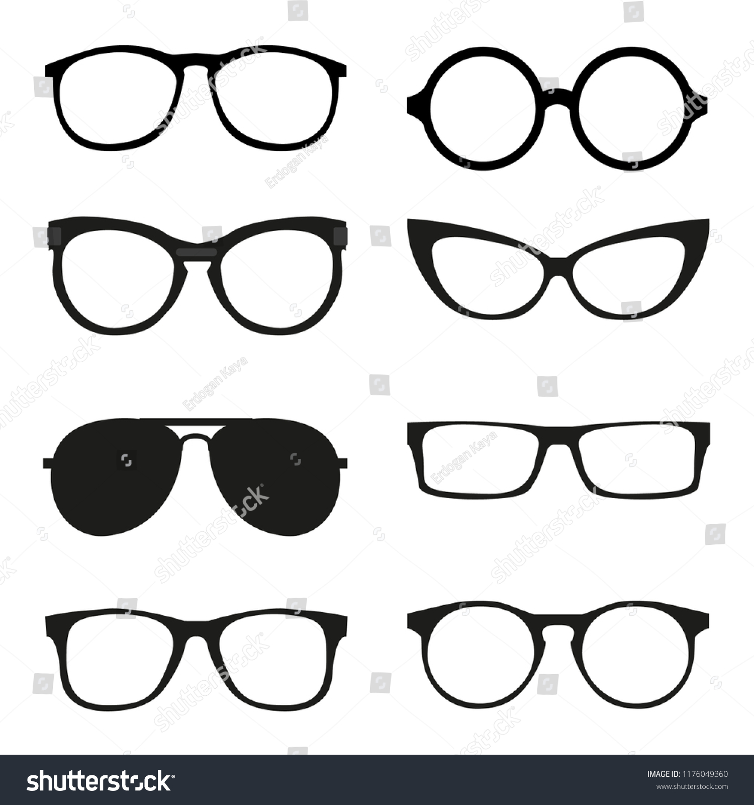 Different Glasses Frames Stock Vector (Royalty Free) 1176049360 ...