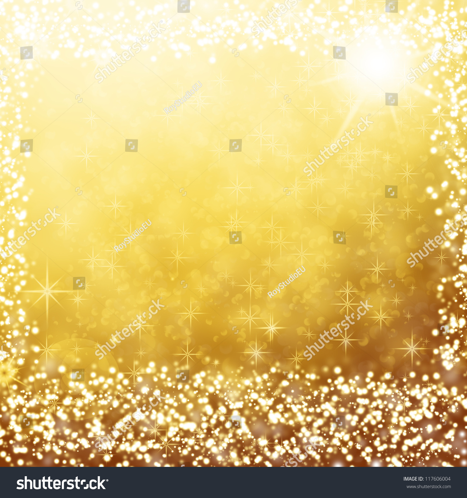 Gold Christmas Background Text Frame White Stock