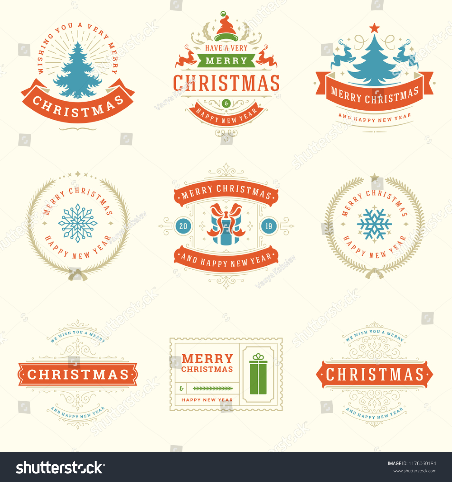 christmas labels and badges vector design elements set merry christmas and happy new year wishes