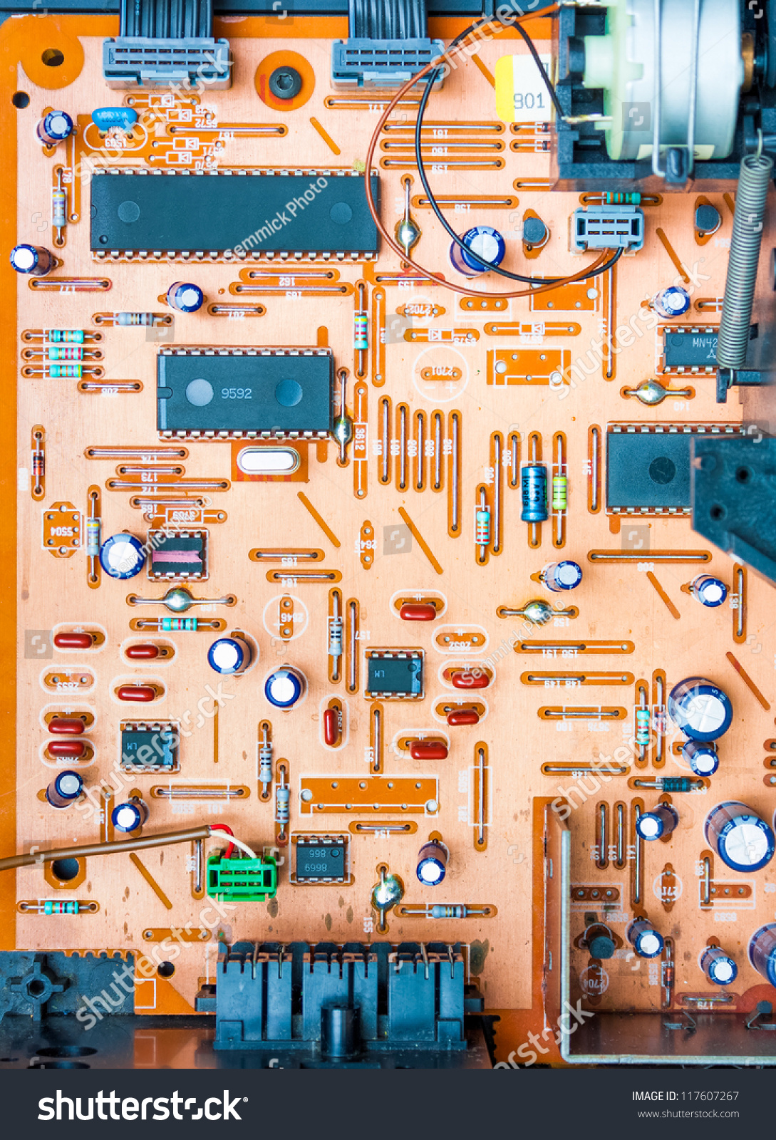 Vintage Orange Populated Printed Circuit Board Stock Photo Edit Now Stockfoto Pcb Used In Industrial Electronic Showing The Conductive Traces Vias Through Hole