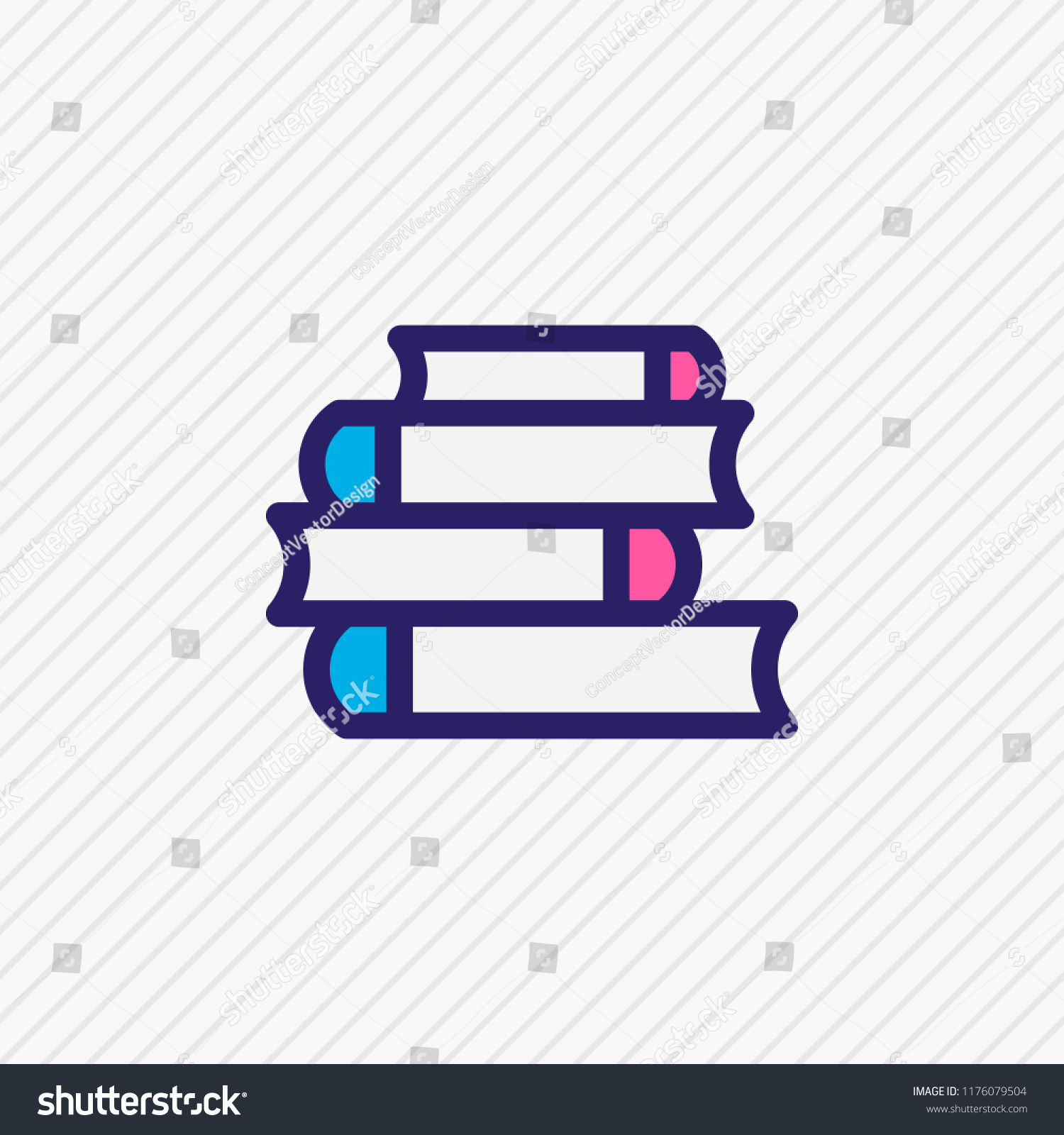 Illustration Of Lecture Icon Colored Line Beautiful Book Element Also Can Be Used As Bookshelf