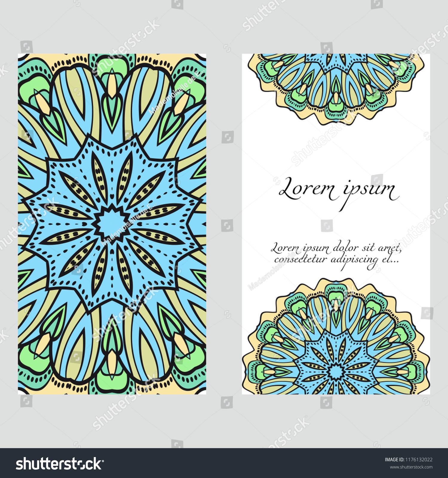 Ecard Birthday Invitation Card Template Floral Mandala Pattern Stock Vector