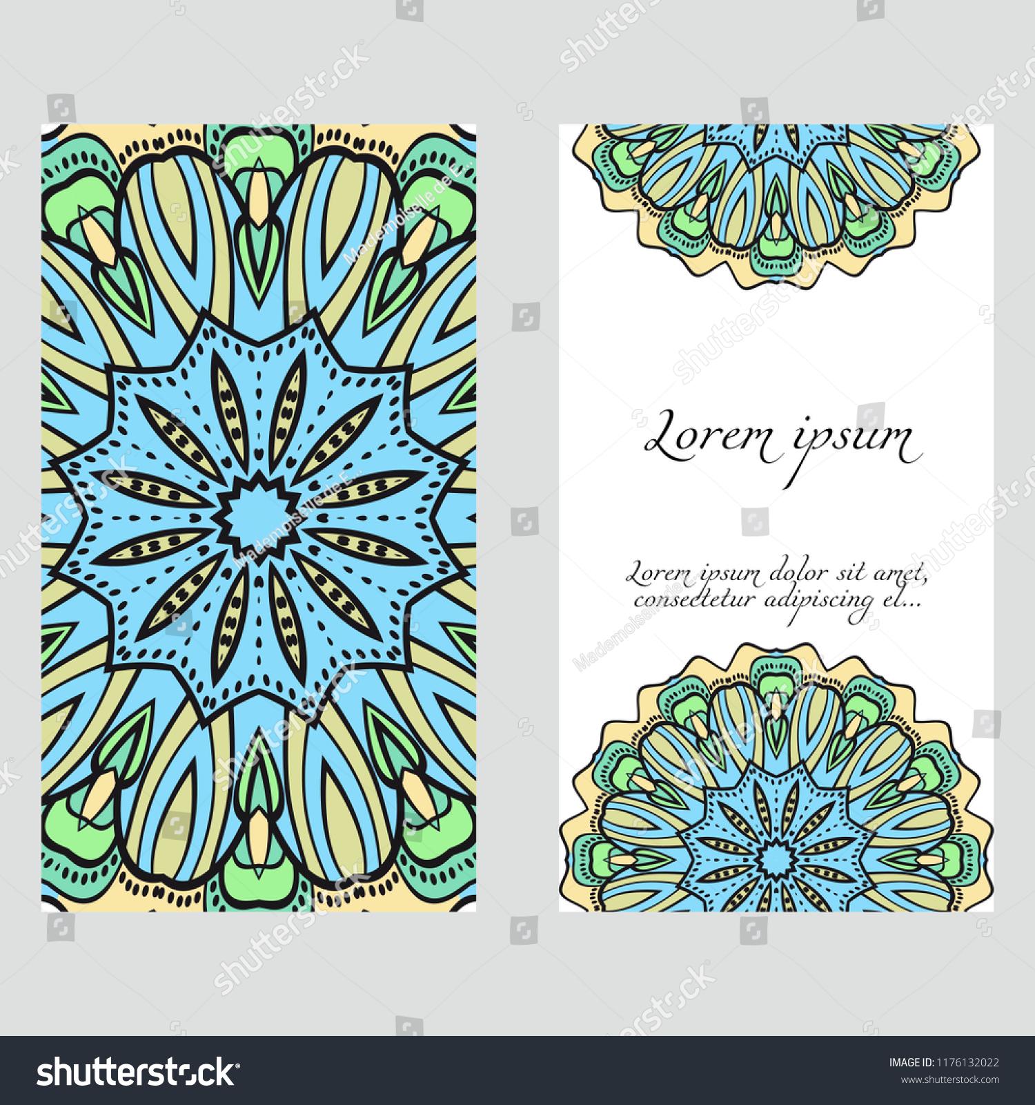 Ecard Birthday Invitation Card Template Floral Mandala Pattern Stock Vector