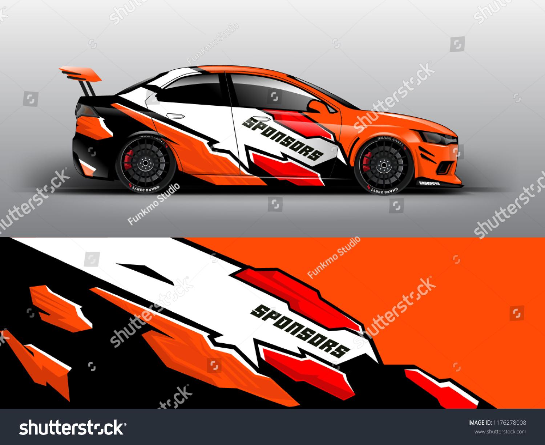 Orange theme racing car wrap design template vector eps10 sedan hatchback racing and dirt