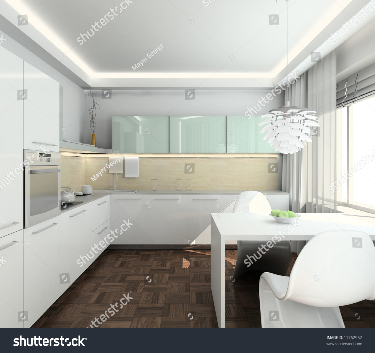Traditional White Kitchen Design 3d Rendering: Modern Design Interior Of Kitchen. 3d Render Stock Photo