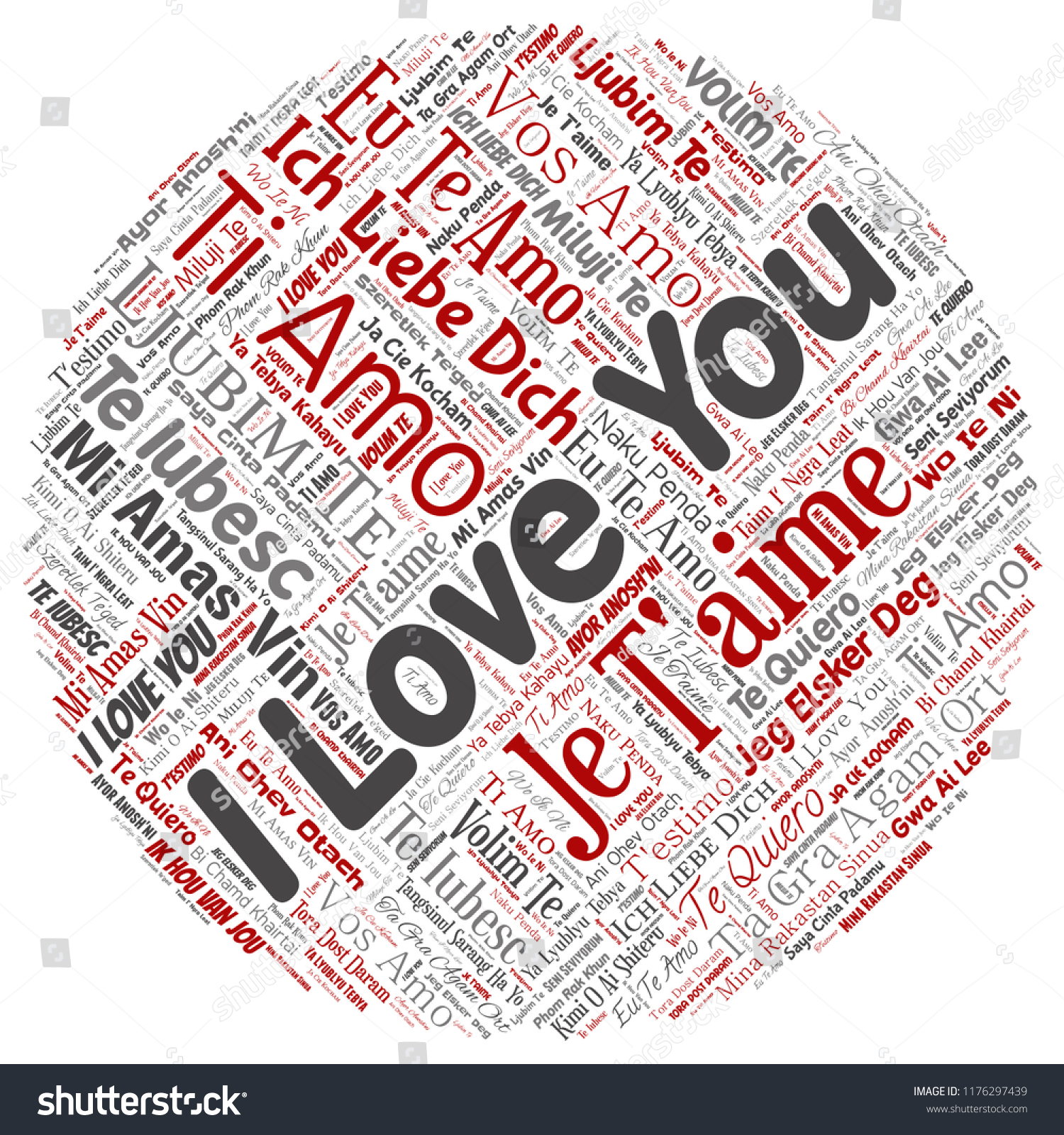 Vector Conceptual Sweet Romantic I Love You Multilingual Message Round Circle Red Word Cloud Isolated Background