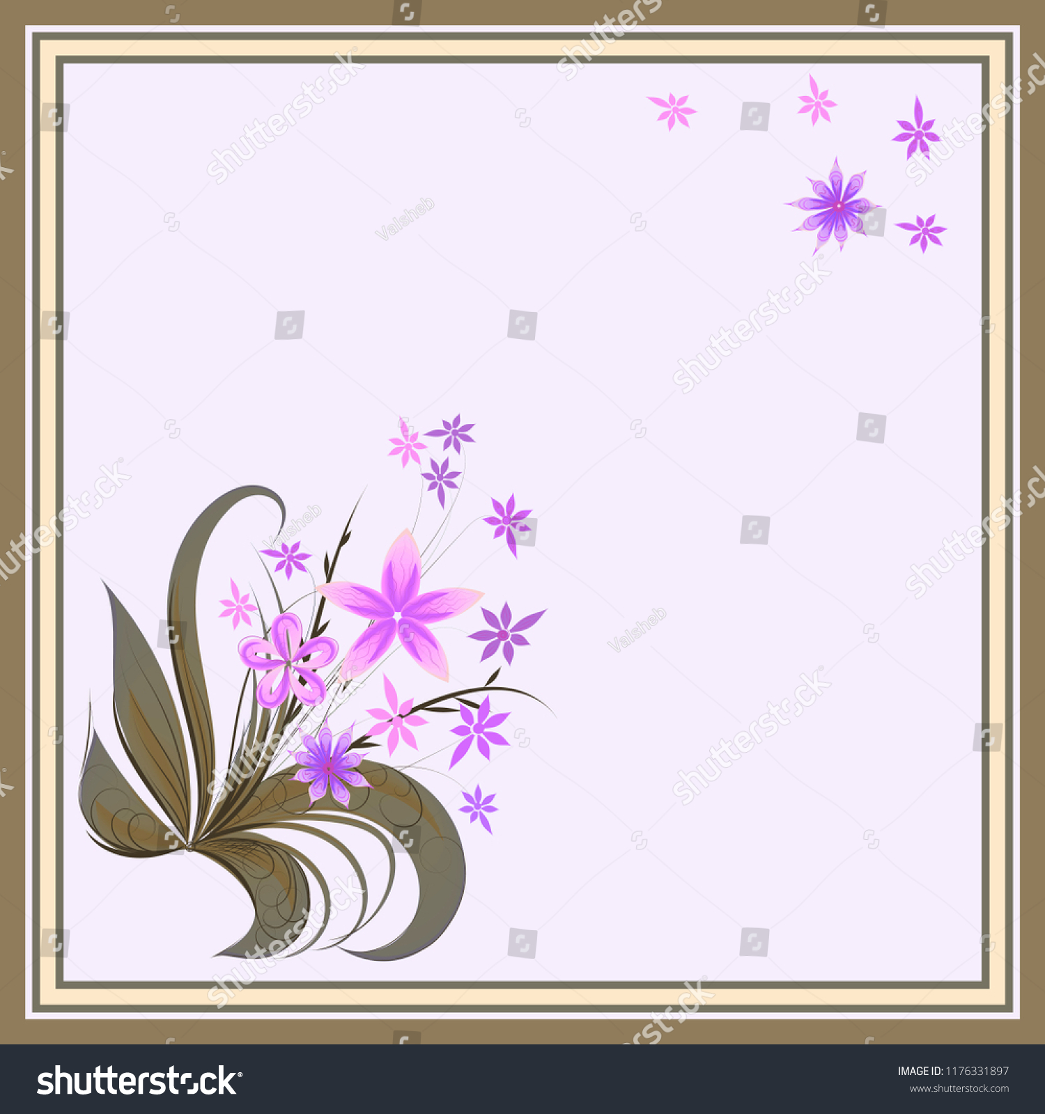 Bouquet Creative Flowers Vector Pattern Frame Stock Vector Royalty