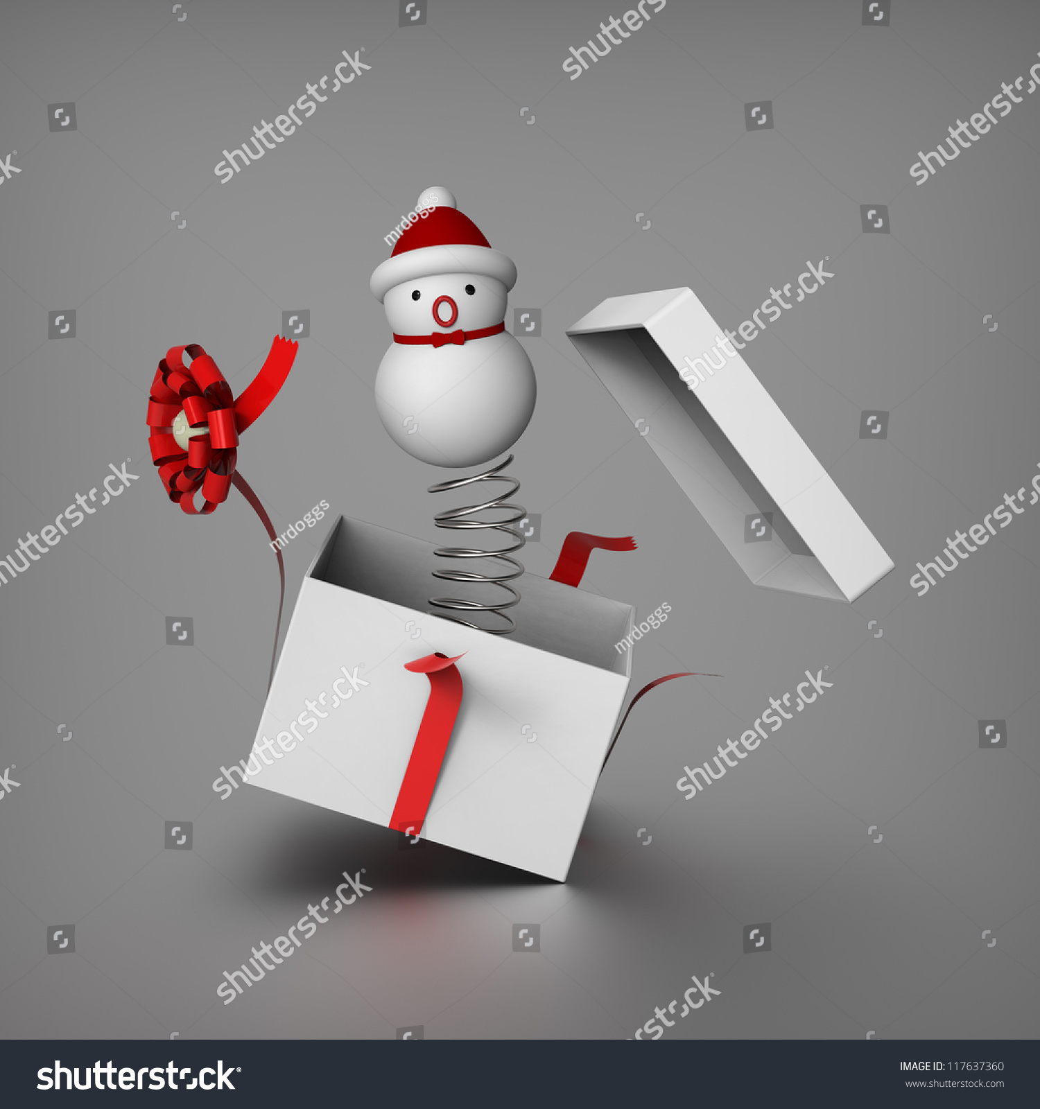 3d Snowman Mimics Jack Box By Stock Illustration 117637360 ...
