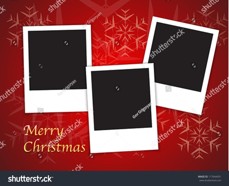 Merry Christmas Card Templates Blank Photo Stock Vector 117644431 ...