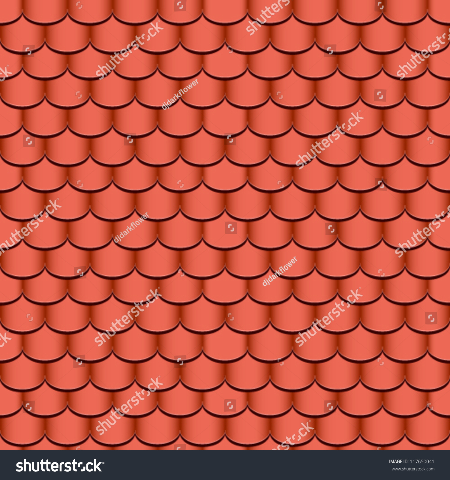 Clay Roof Tiles Seamless Background Vector Illustration