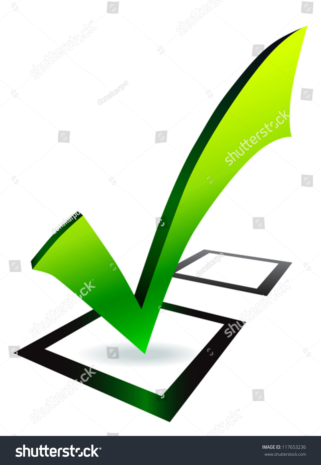 Check mark green symbol black box stock vector 117653236 shutterstock check mark green symbol in black box on white background biocorpaavc Image collections