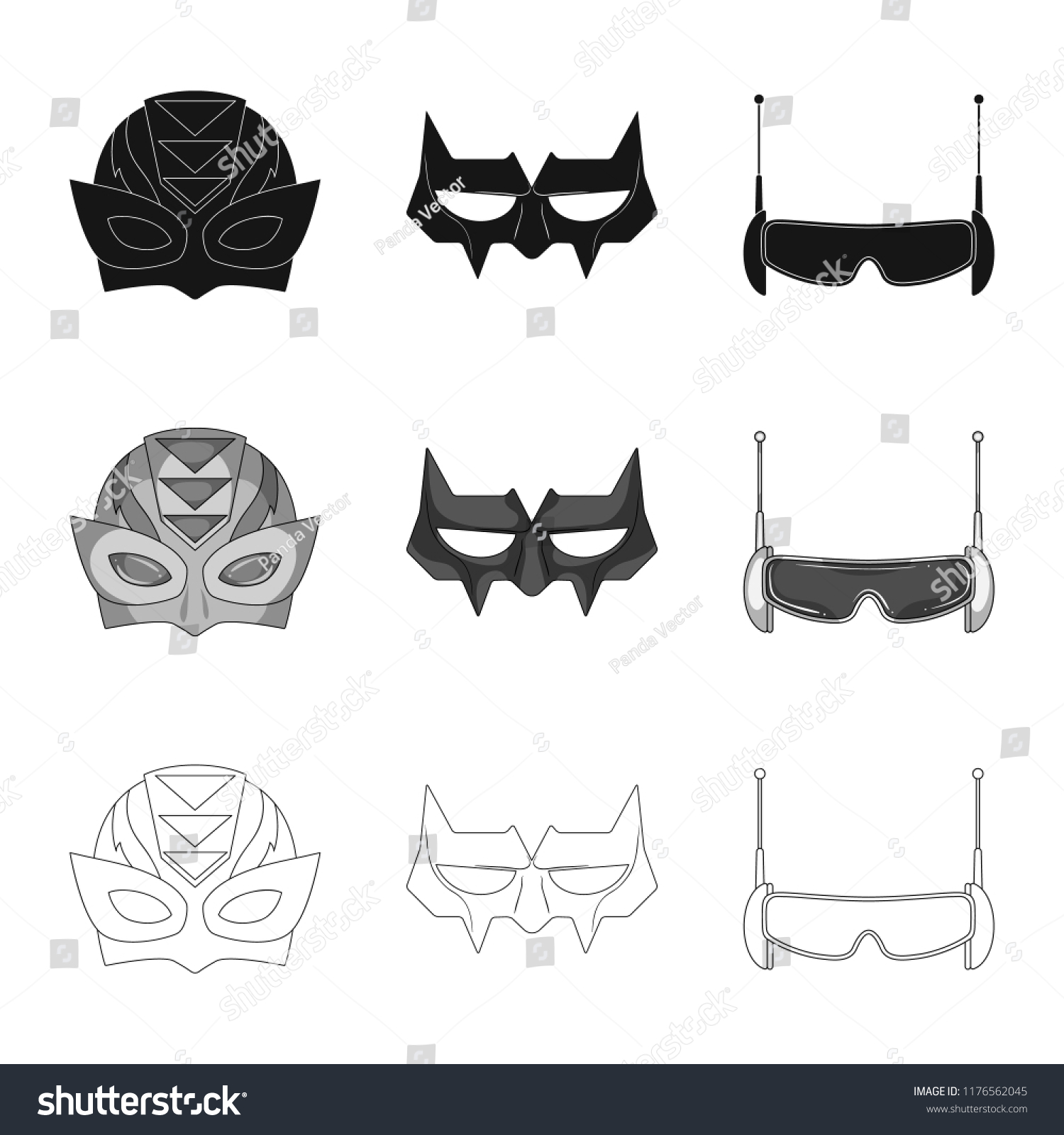 Isolated Object Hero Mask Symbol Collection Stock Vector Royalty