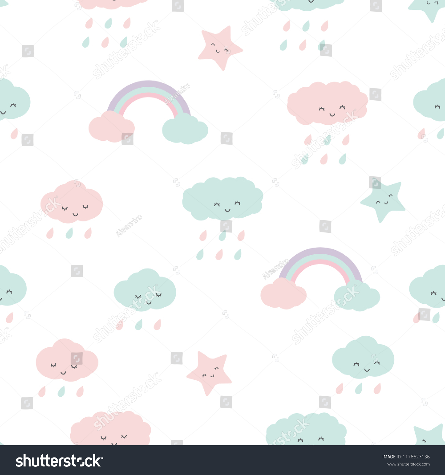 f11fafccebe Cute adorable cloud and rainbow pastel color cartoon doodle seamless  pattern background wallpaper vector eps10.
