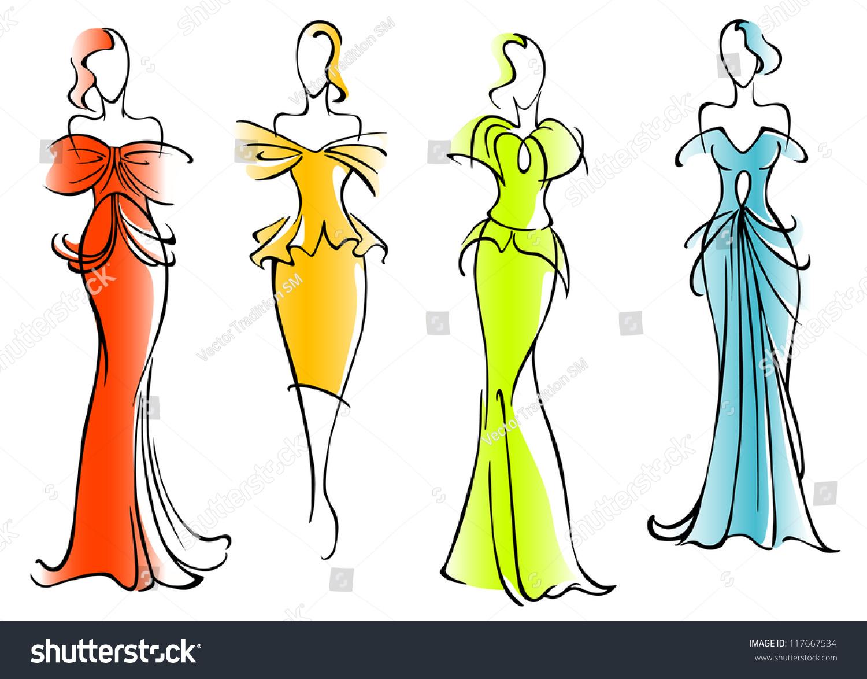 Modern Elegant Dresses Fashion Design Such Stock Vector Royalty