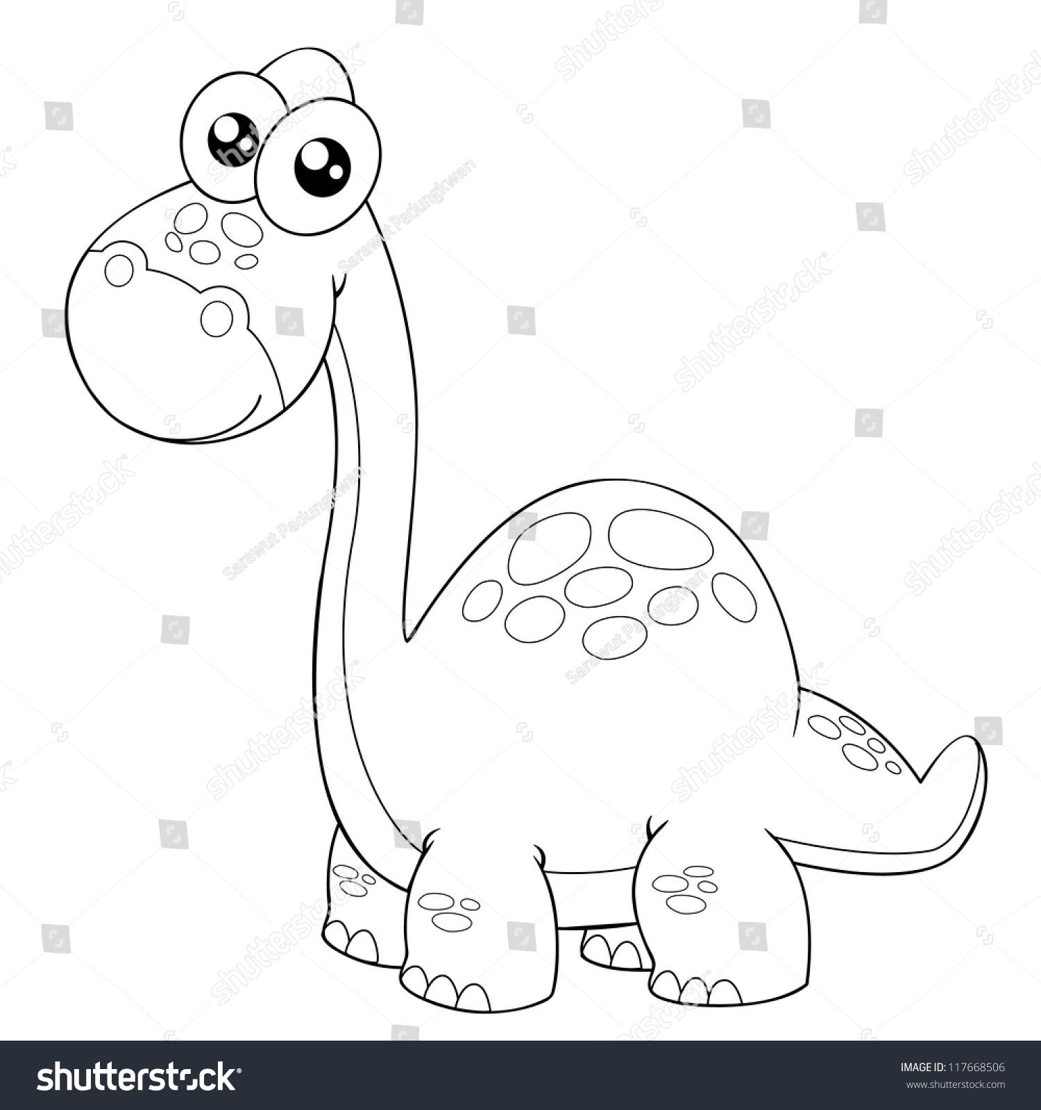 illustration of cartoon dinosaur outline