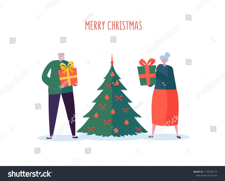 Seniors Gifts Christmas Tree Elderly Couple Stock Vector (Royalty ...