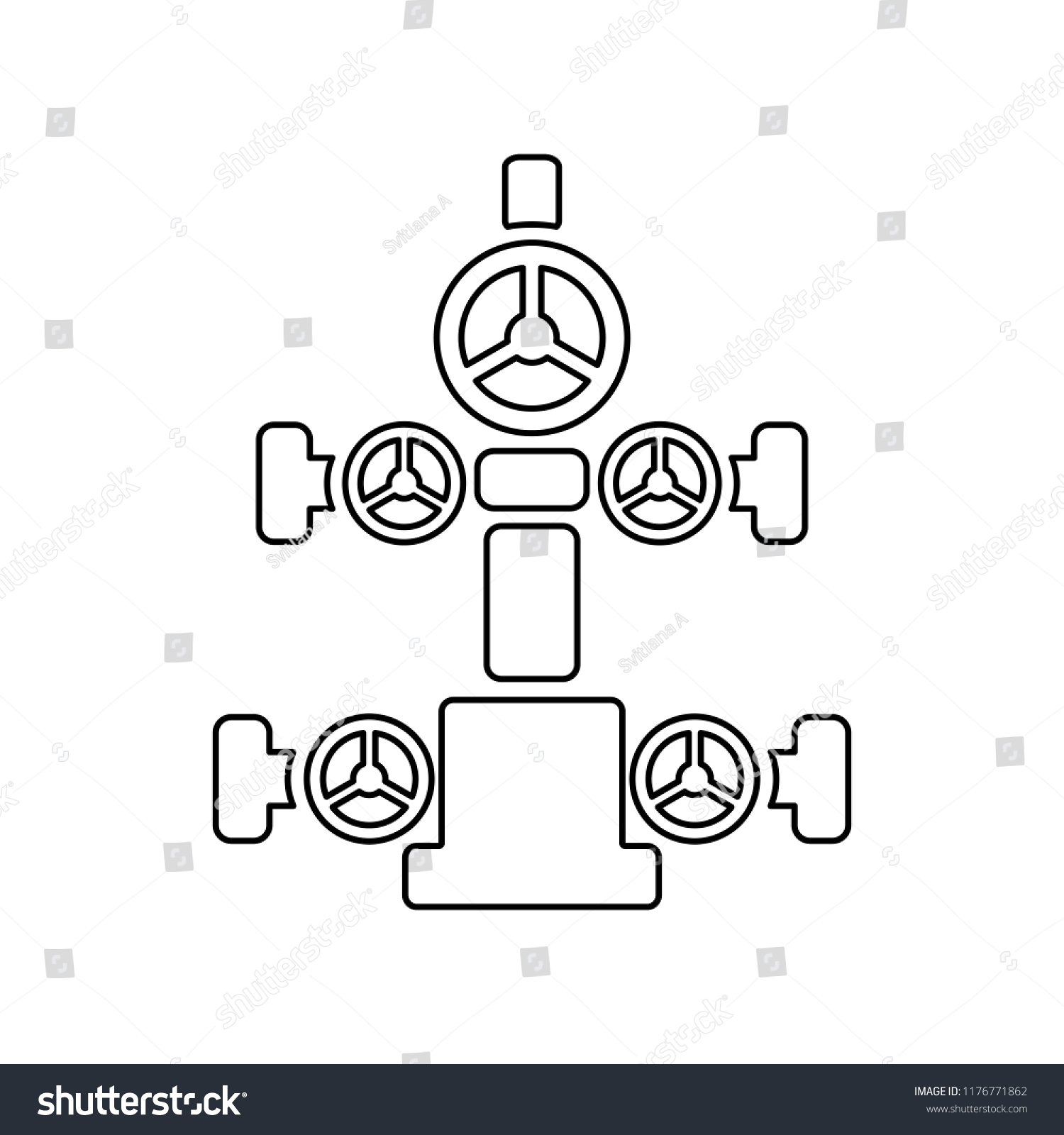 Graphic Flat Vector Outline Christmas Tree Stock Vector Royalty