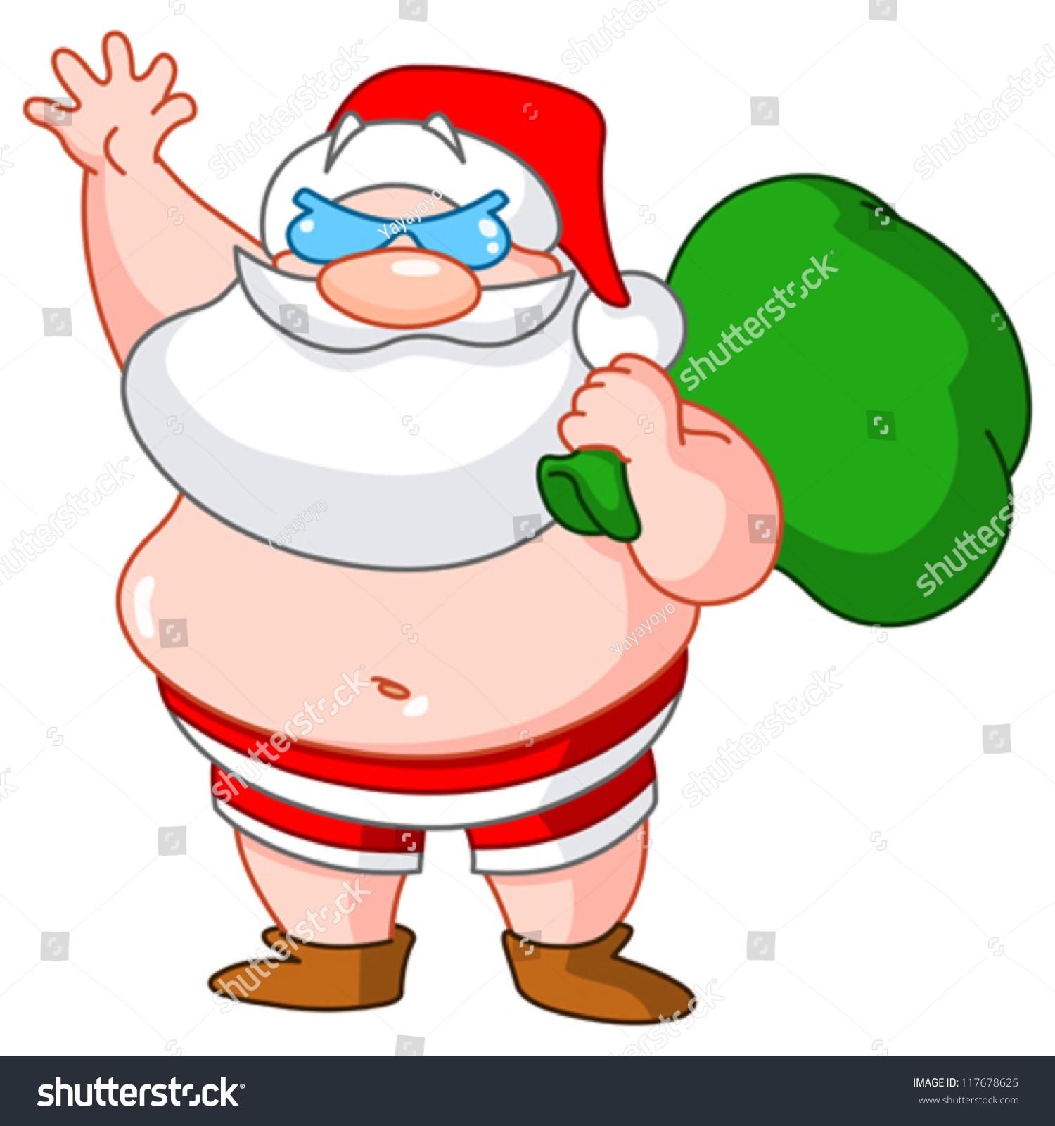 Santa Claus On Beach Wearing Swimsuit Stock Vector